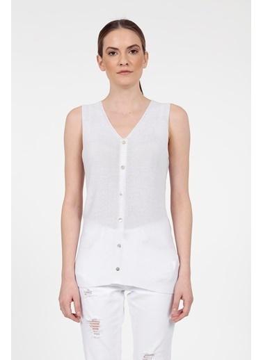 Vitrin Önü Düğme Detaylı Triko Bluz Beyaz